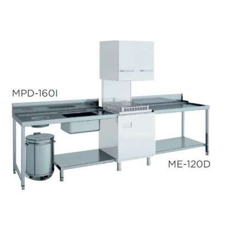 Mesa de prelavado entrada derecha dim.1600x750x850h con estante con aro desbarazado mm MPD-160D