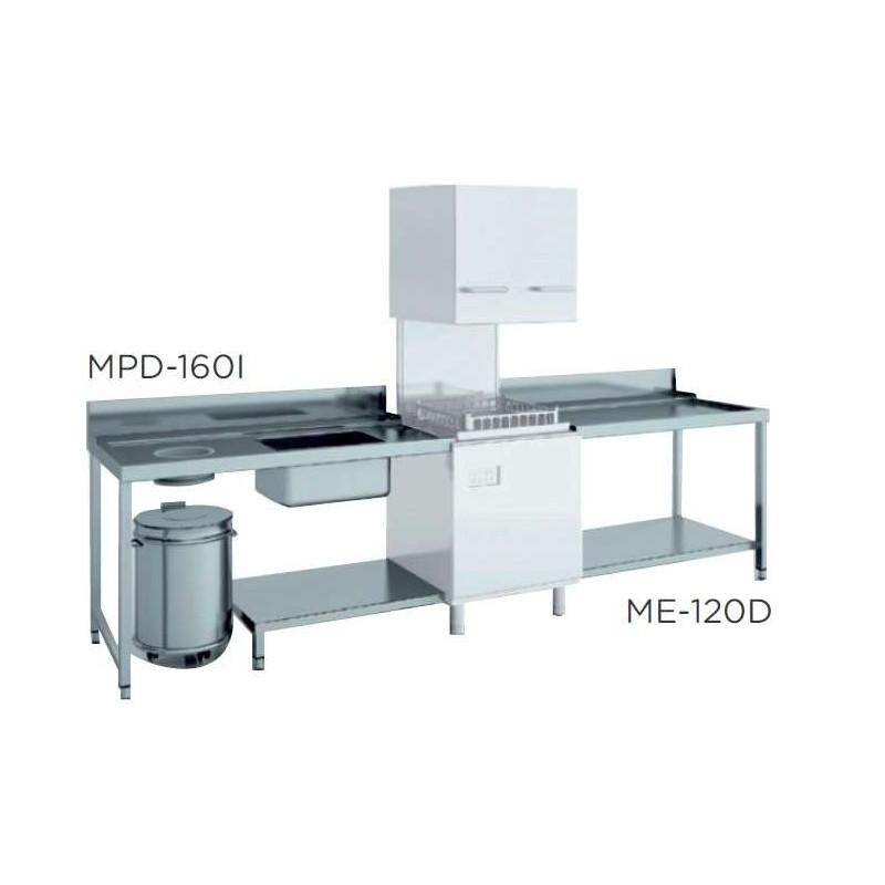 Mesa de prelavado entrada izquierda dim.1600x750x850h con estante con aro desbarazado mm MPD-160I
