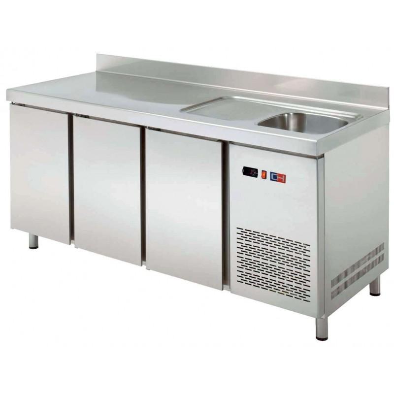 Mesa Snack Refrigerada con fregadero 2 puertas Fondo 600 de 1492 x600 x850h mm CORDOBA MRCH-150F