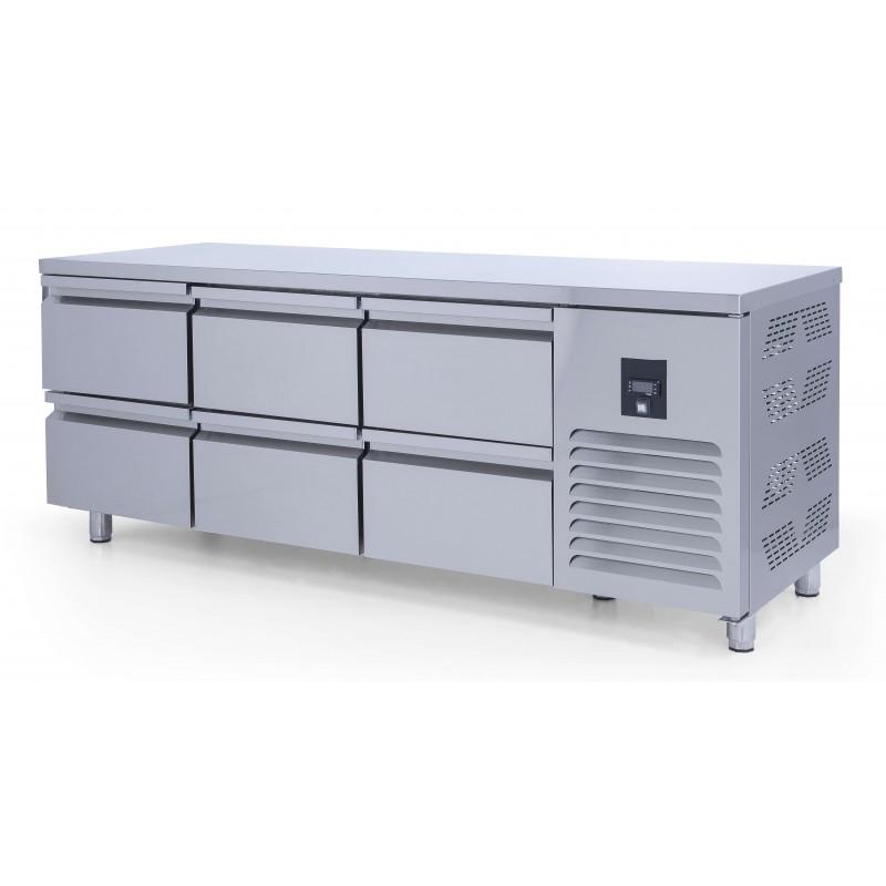 Mesa Refrigerada 6 cajones GN1/1 Fondo 700 de 2000 x700 x850h mm ESTAMBUL CTS515CR-2D-6
