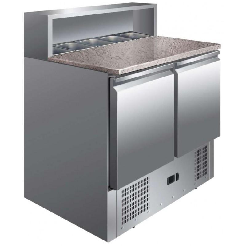 Mesa GN1/1 2 Puertas Preparación Ensaladas con Encimera de Granito de 900 x700 x1010h mm PEKIN PS900