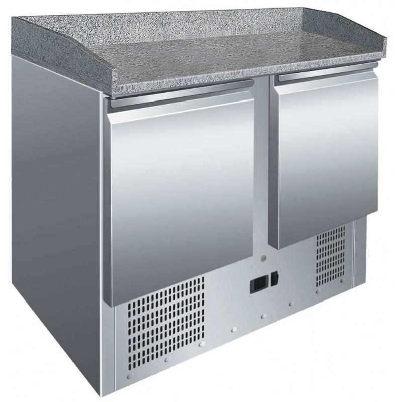 Mesa GN1/1 2 Puertas Preparación Pizzas con Encimera de Granito de 900 x700 x1010h mm PEKIN S902PZ