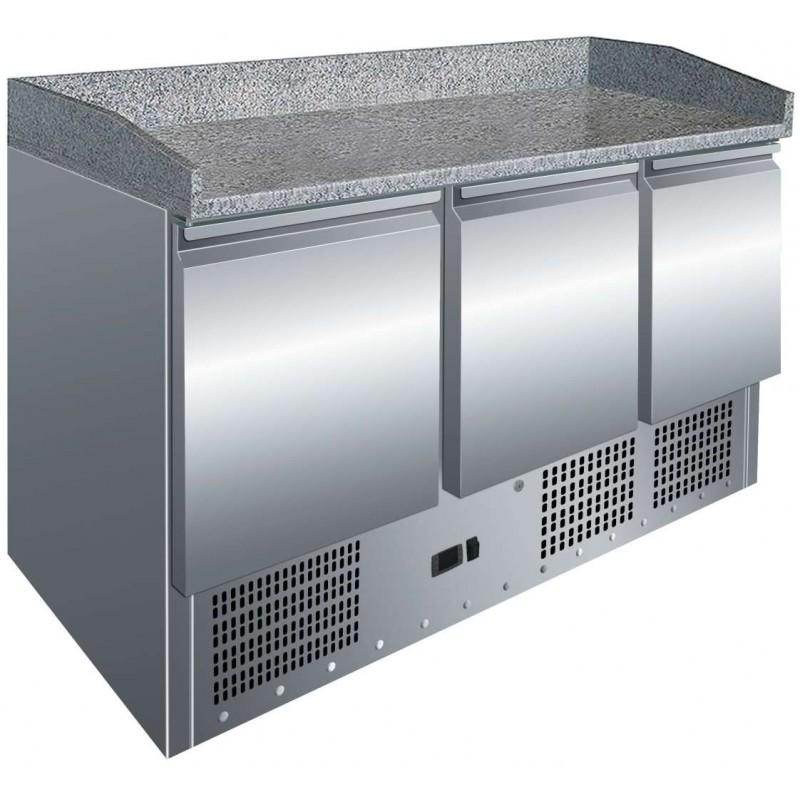 Mesa GN1/1 3 Puertas Preparación Pizzas con Encimera de Granito de 1365 x700 x1010h mm PEKIN S903PZ