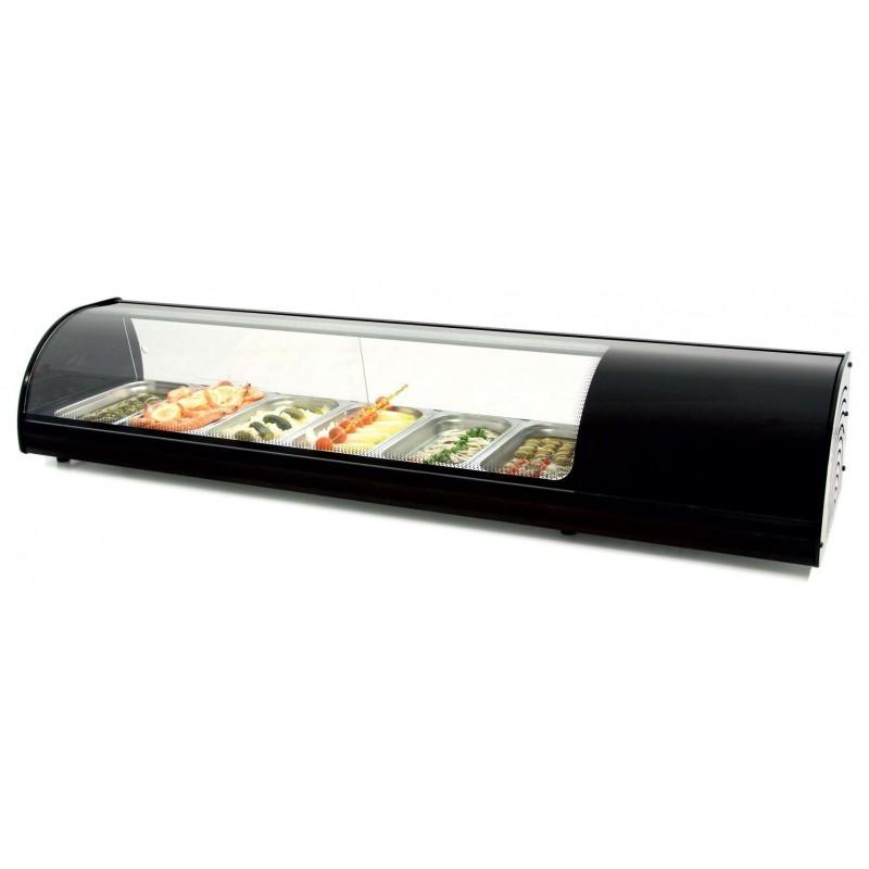 Vitrina refrigerada de tapas 6 bandejas GN1/3-40 color negro dim.1456x390x287h mm línea Badajoz 6VTG-NE