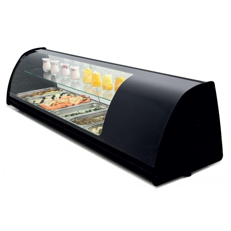 Vitrina refrigerada de tapas doble piso placa lisa color negro dim.1808x390x360h mm línea Badajoz 8VTL DOBLE-NE