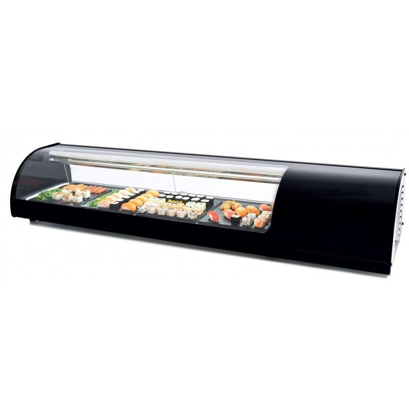 Vitrina refrigerada de tapas Sushi placa lisa color negro dim.1808x390x287h mm línea Badajoz 8VTL SUSHI-NE