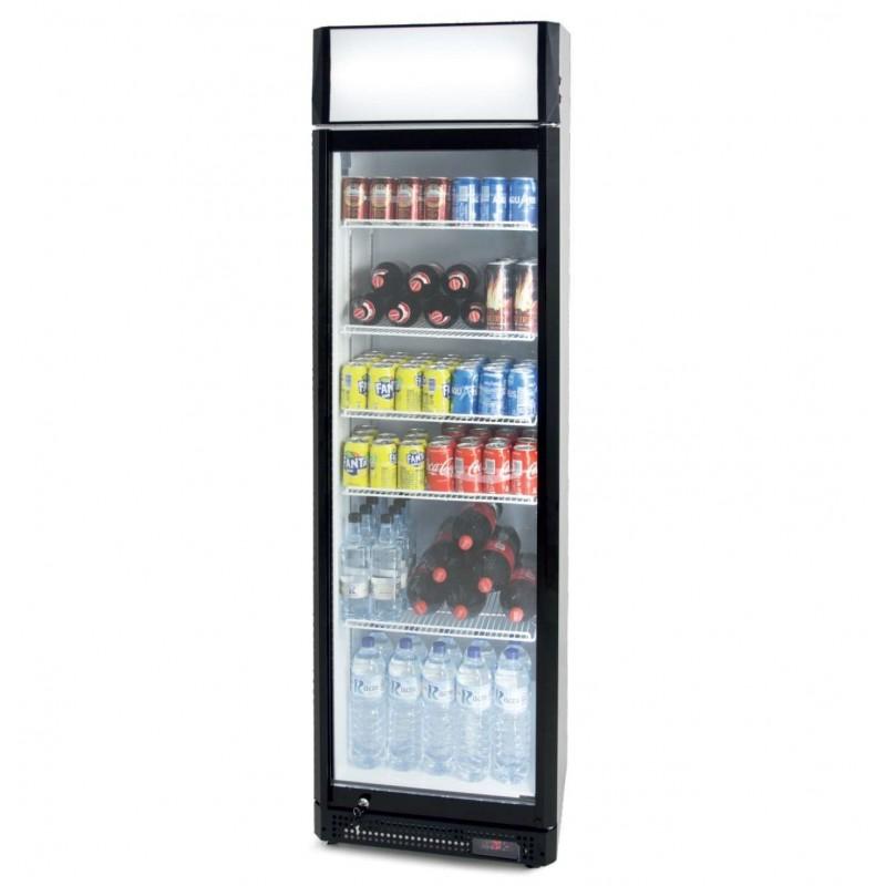 Armario Expositor Refrigerado 410 litros Puerta de Vidrio de 580 x610 x1980h mm PEKIN CS410SB con cabezal luminoso