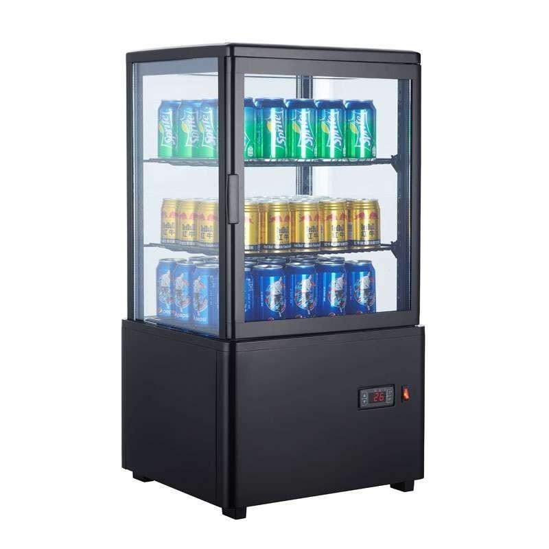 Expositor Refrigerado 4 Caras 58 litros Negro de 447x400x819h mm Línea Pekín XC58L-N