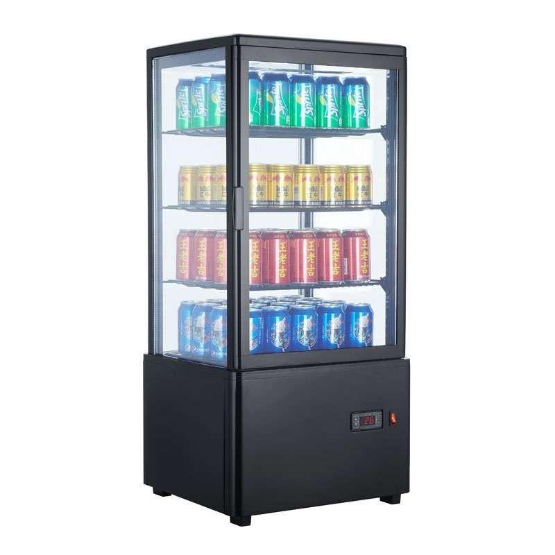 Expositor Refrigerado 4 Caras 78 litros Negro de 447x400x969h mm Línea Pekín XC78L-N