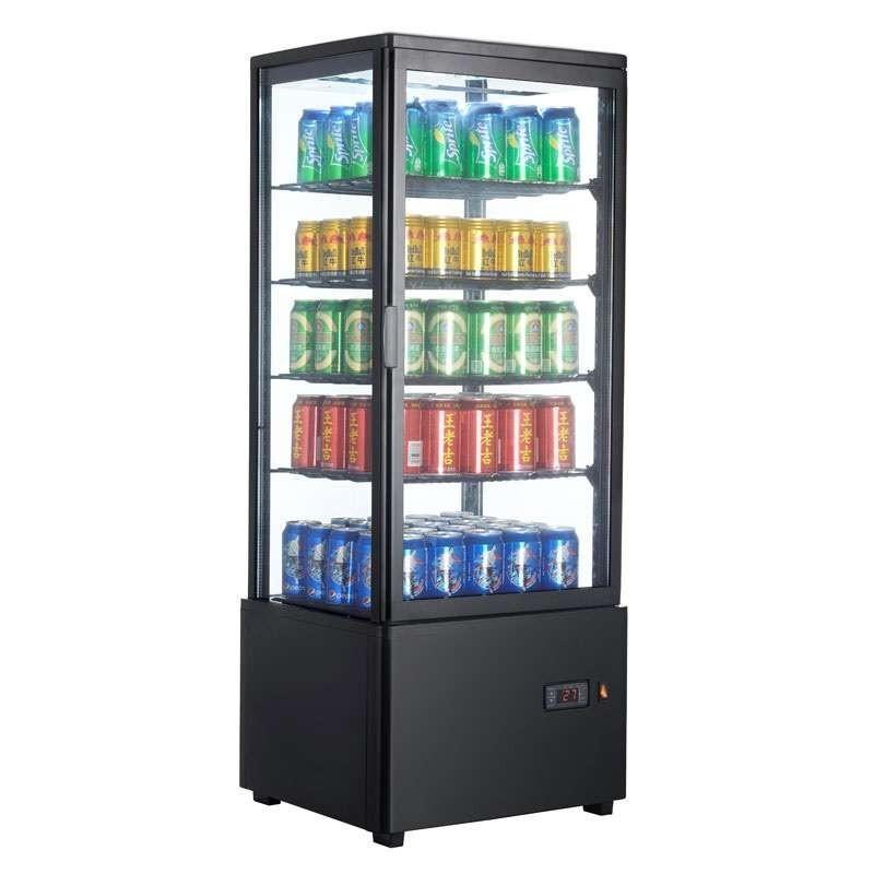 Expositor Refrigerado 4 Caras 98 litros Negro de 447x400x1199h mm Línea Pekín XC98L-N