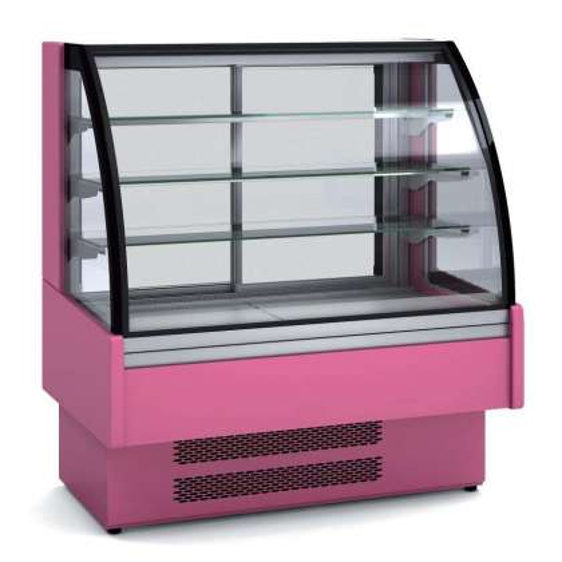 Vitrina Expositora Refrigerada Ventilada Cristal Curvo para chocolates dim.1300x730x1379h mm Línea Córdoba VVB-6-13-C