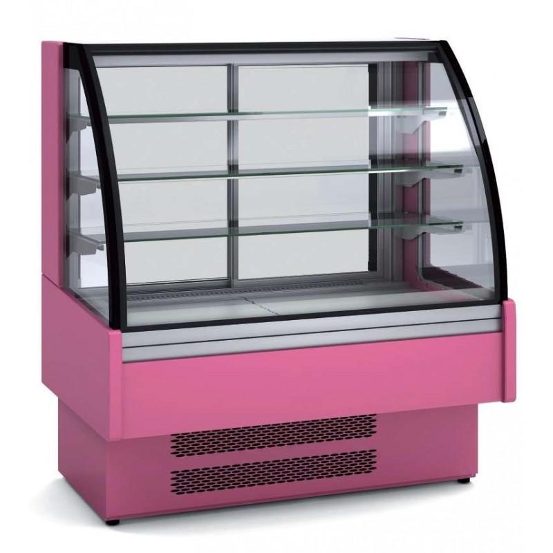 Vitrina Expositora Refrigerada Ventilada Cristal Curvo para chocolates dim.1650x730x1379h mm Línea Córdoba VVB-6-16-C