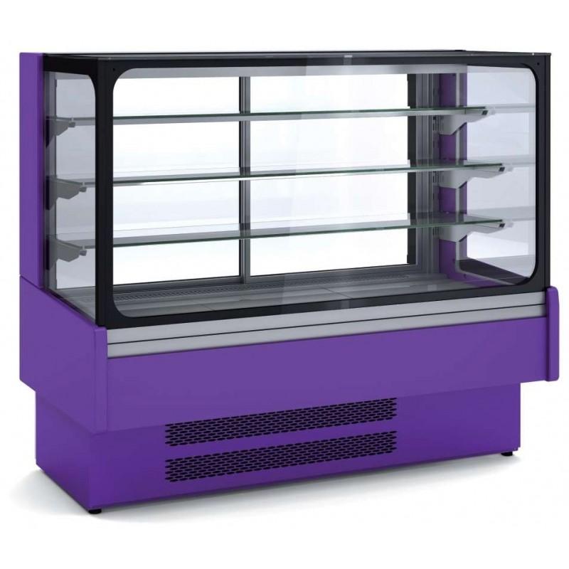 Vitrina Expositora Refrigerada Ventilada Cristal Recto para snack dim.1300x730x1379h mm Línea Córdoba VV-6-13-R