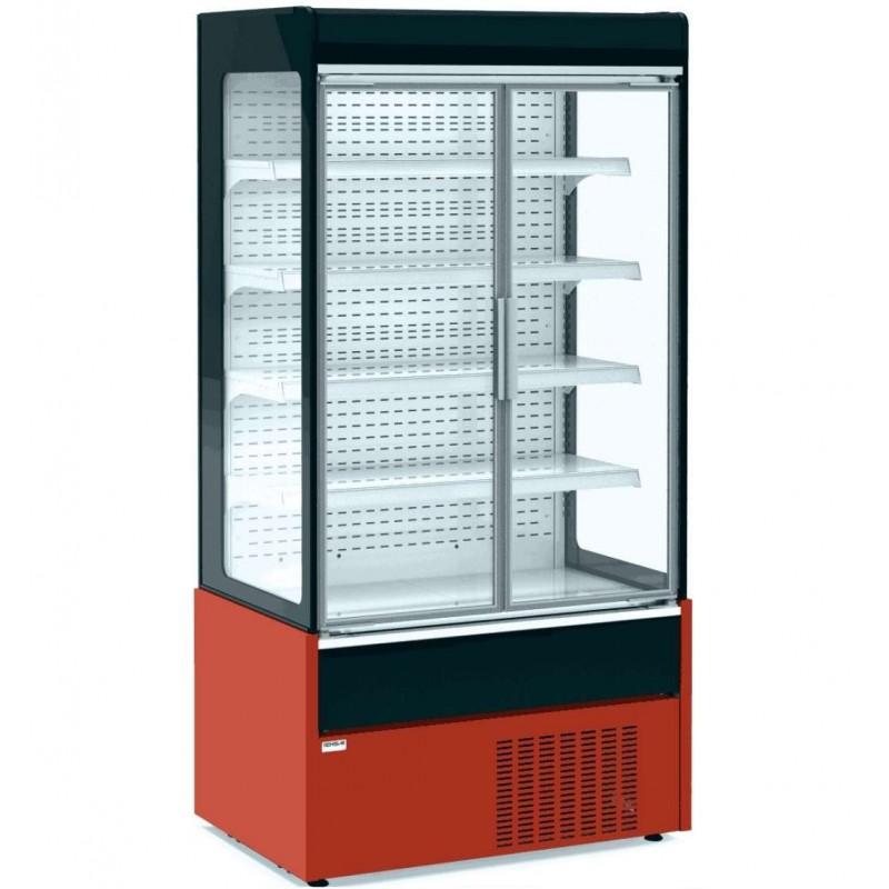 Mural Refrigerado Expositor con Puertas de Cristal 4 Estantes Fondo 700 de 1530 x700 x1990h mm AVEIRO MAE150PV-R color ROJO