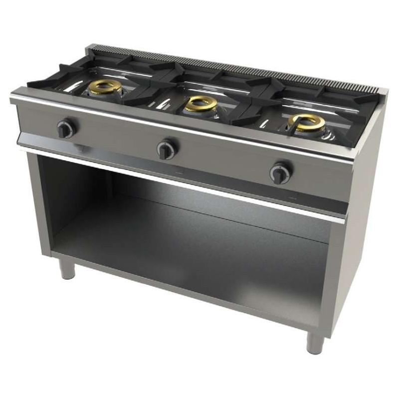 Cocina a gas con mueble de 3 fuegos 8+8+8 Kw SerIe 550 JUNEX con medidas 1200x550x850h mm 6300/1