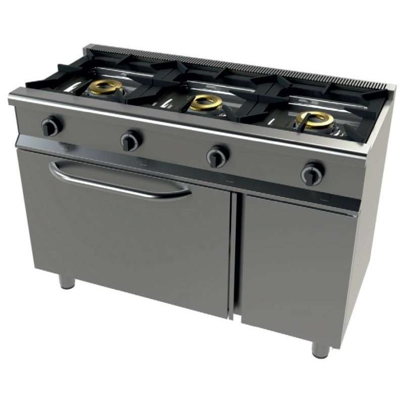 Cocina a gas con horno GN1/1 4,5Kw, 3 fuegos 8+8+8 Kw SerIe 550 JUNEX con medidas 1200x550x850h mm 6301/1