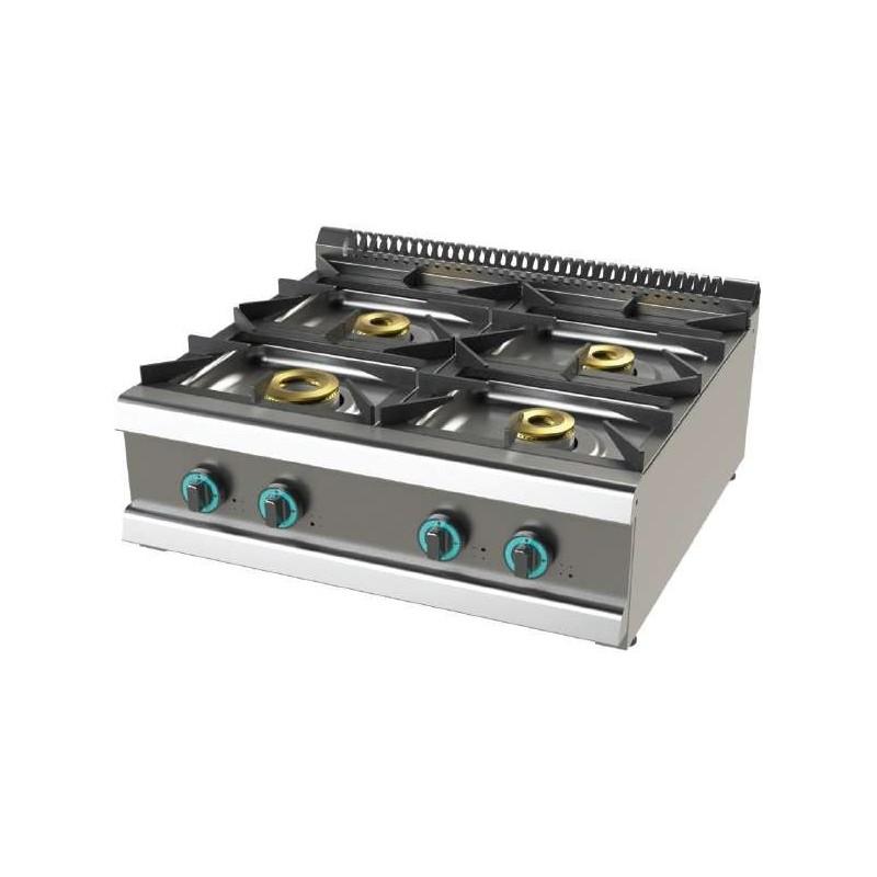 Cocina a gas sobremesa de 4 fuegos 8+4,5+6+6 Kw SerIe 700 JUNEX con medidas 800x730x240h mm FO7N400B