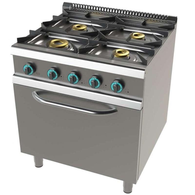 Cocina a gas con horno GN2/1 de 4 fuegos 8+4,5+6+6 Kw SerIe 700 JUNEX con medidas 800x730x900h mm FO7N401
