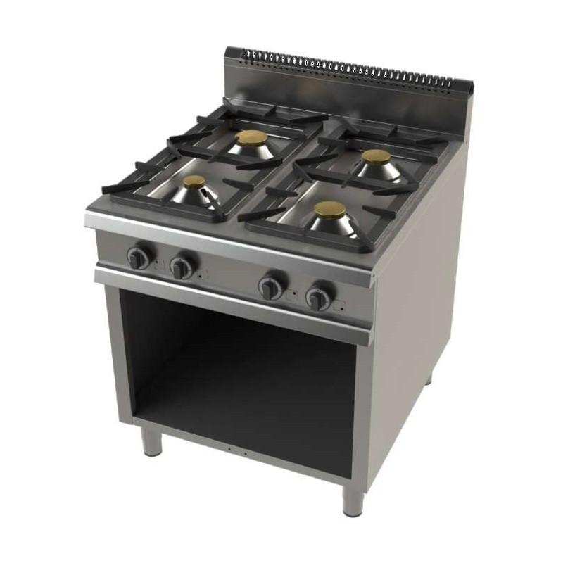 Cocina a gas con mueble de 4 fuegos 4,3+8,3+10+8,3 Kw Serie 900 JUNEX con medidas 800x900x900h mm FO9C400