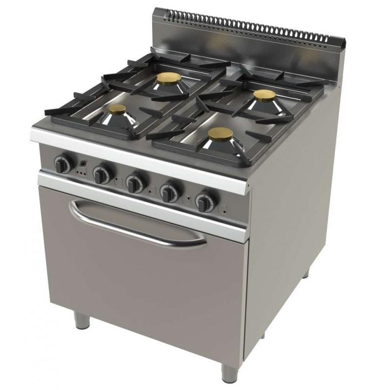Cocina a gas con horno GN2/1 de 4 fuegos 4,3+8,3+10+8,3 Kw Serie 900 JUNEX con medidas 800x900x900h mm FO9C401
