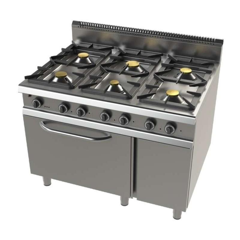 Cocina a gas con horno GN2/1 de 6 fuegos 2x8,3+4,3+2x10 Kw Serie 900 JUNEX con medidas 1200x900x900h mm F09C601