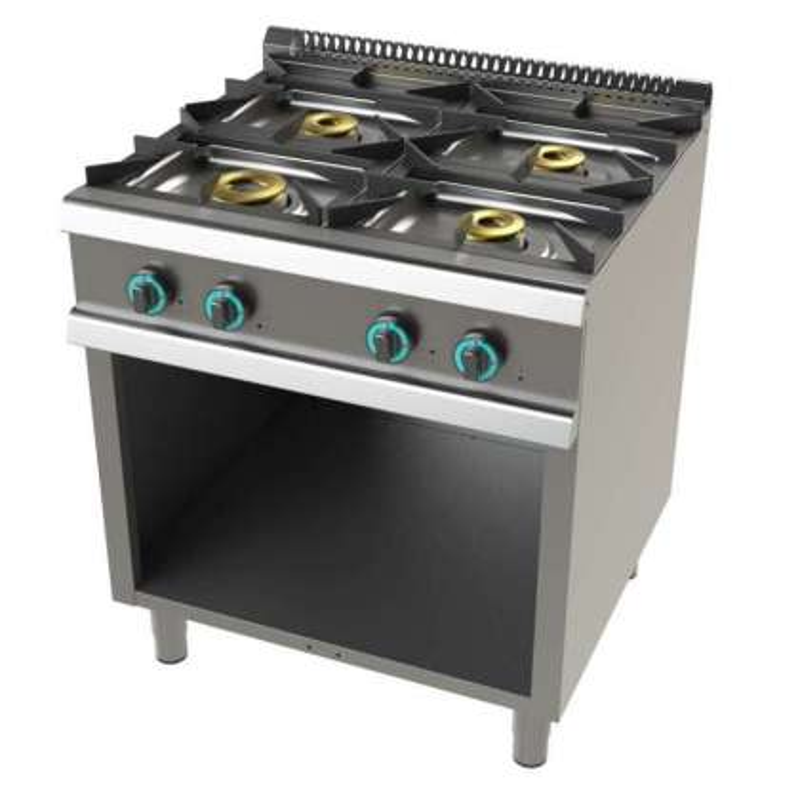 Cocina a gas con mueble de 4 fuegos 4,5+8+2x6 Kw Serie 900 JUNEX con medidas 800x900x900h mm 9400/3