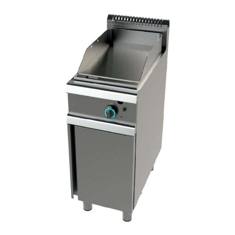 Fry tops a gas acero laminado placa lisa con mueble Serie 700 JUNEX con medidas 400x730x900h mm FT7N00L