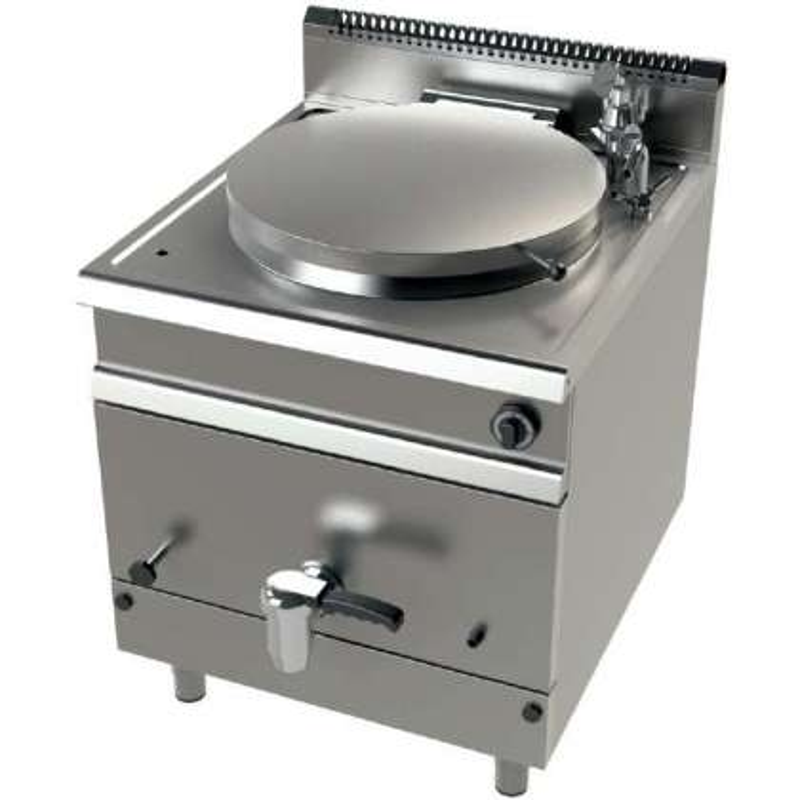 Marmita a gas 140 litros calentamiento directo 21 Kw Serie 900 JUNEX con medidas 800x900x900h mm MG9C150D