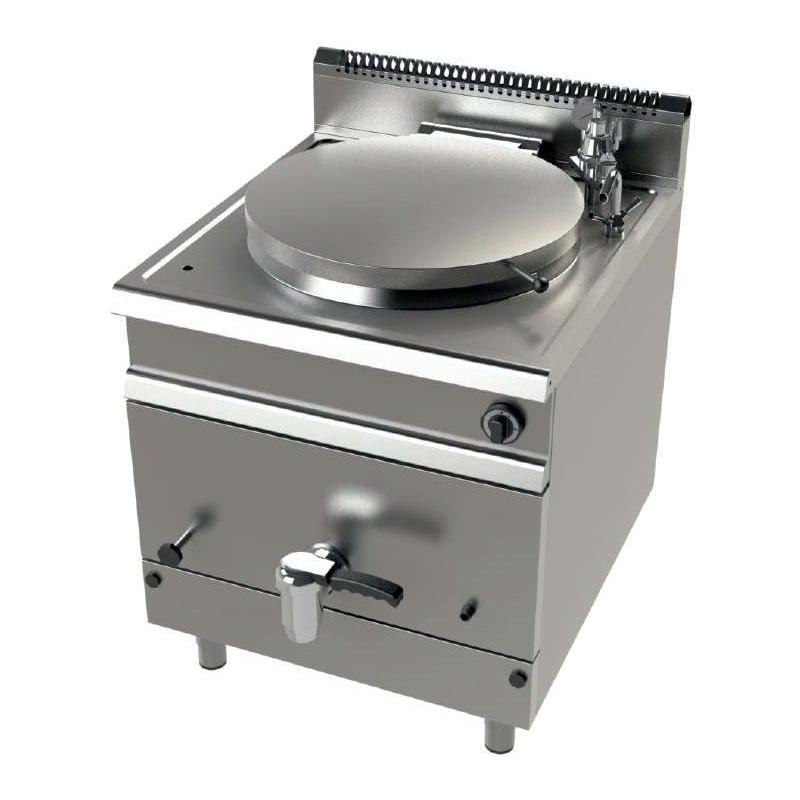 Marmita a gas 135 litros calentamiento indirecto 21 Kw Serie 900 JUNEX con medidas 800x900x900h mm MG9C150