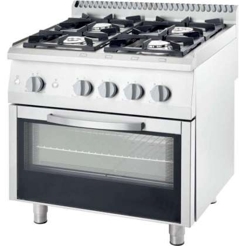 Cocina a gas con horno a gas GN2/1 4 fuegos 800x700x850h mm 3.5+5+2x7 Kw Línea Varsovia