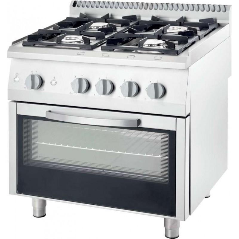 Cocina a gas con horno a gas GN2/1 4 fuegos 800x700x850h mm 2x5+2x7 Kw Línea Varsovia