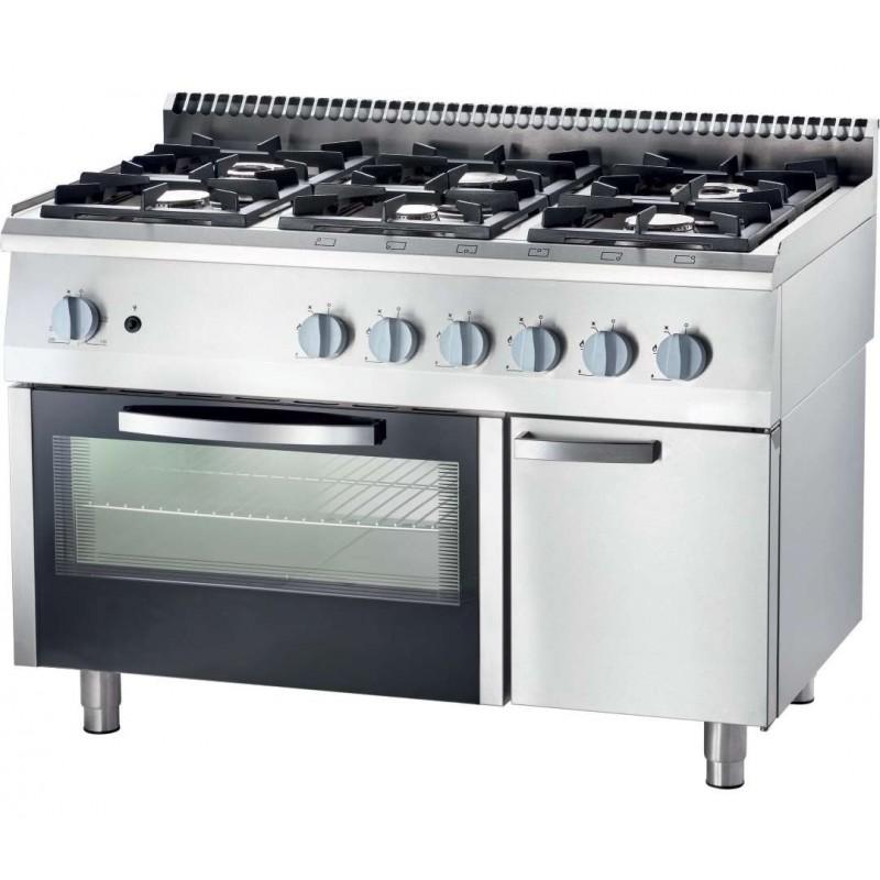 Cocina a gas con horno a gas GN2/1 6 fuegos 1200x700x850h mm 3,5+3x5+2x7 Kw Línea Varsovia