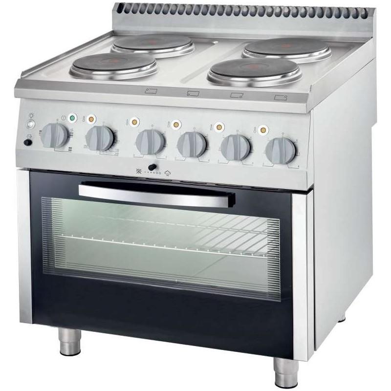 Cocina eléctrica con horno estático 4 zonas 800x700x850h mm 4x2,6Kw Línea Varsovia