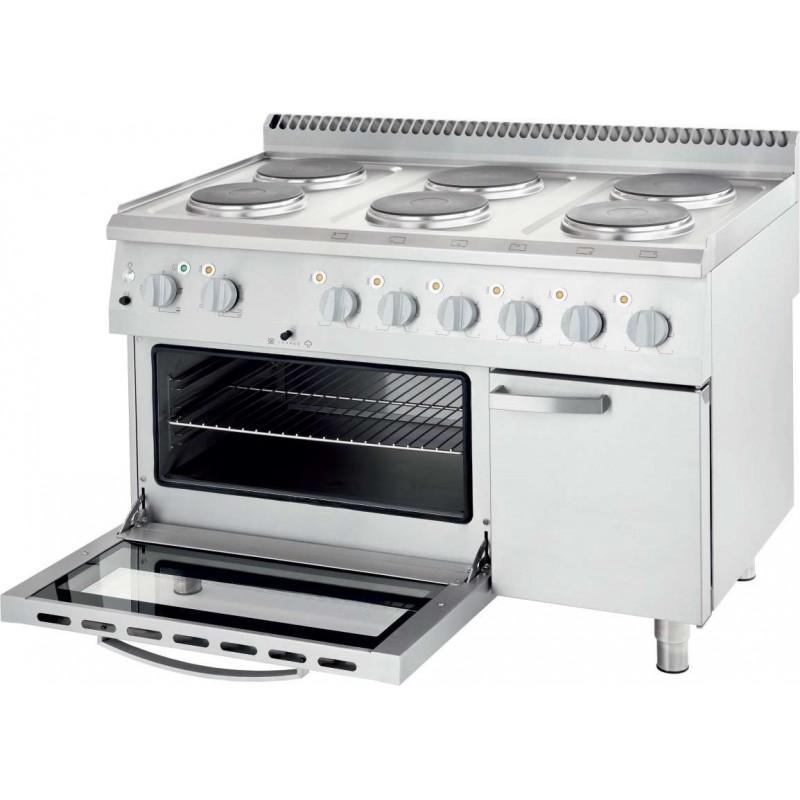 Cocina eléctrica con horno estático 6 zonas 1200x700x850h mm 6x2,6Kw Línea Varsovia
