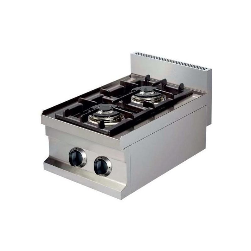 Cocina a gas sobremesa 2 fuegos 2x3,6kw 400x600x265h mm GC604 Línea Estambul