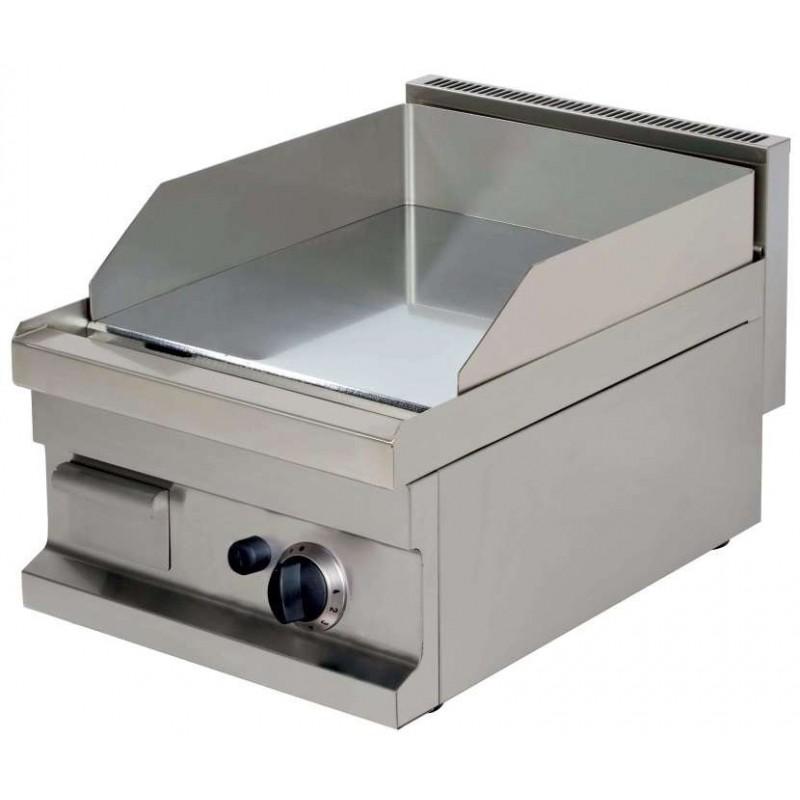 Fry tops a gas sobremesa liso acero 15 mm con baño cromo duro 4,8kw 400x600x265h mm GG604 Línea Estambul