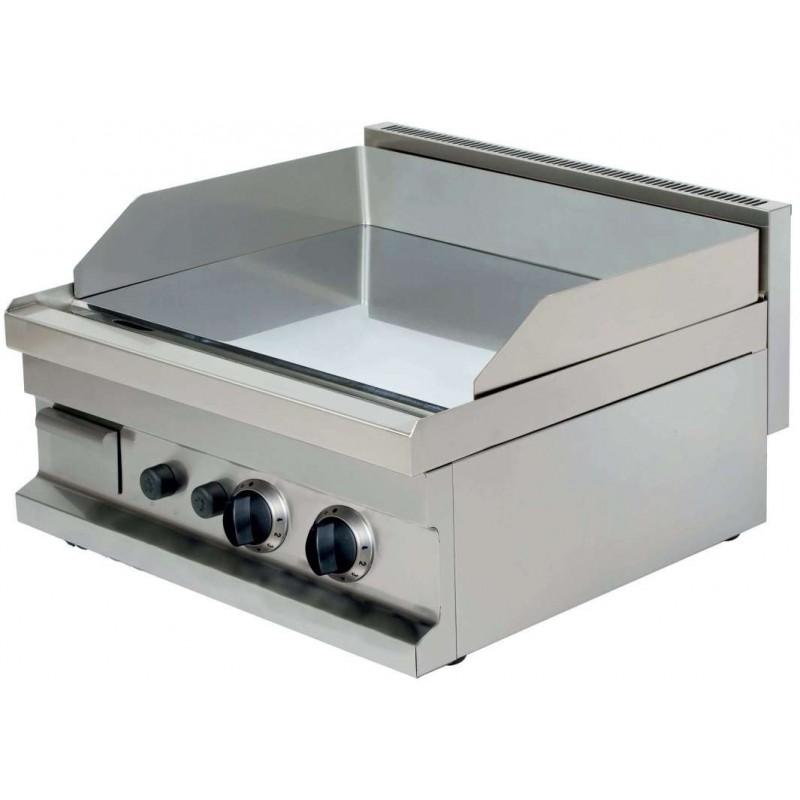 Fry tops a gas sobremesa liso acero 15 mm con baño cromo duro 2x4,8kw 600x600x265h mm GG606 Línea Estambul