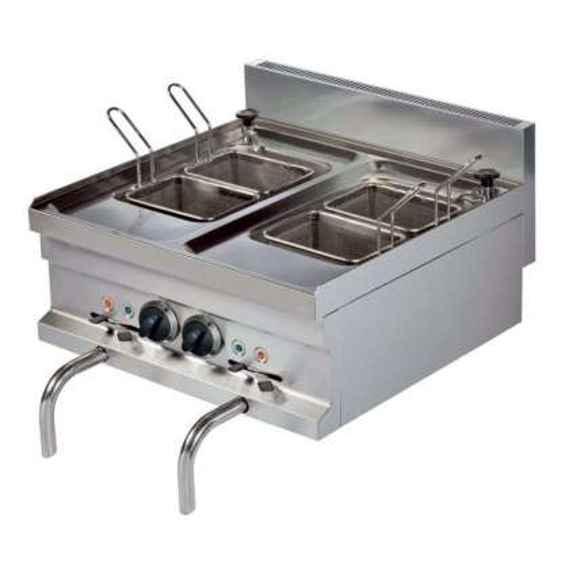 Cocedor de pasta eléctrico sobremesa 14+14 litros 3+3 kw 600x600x265h mm EMH606 Línea Estambul