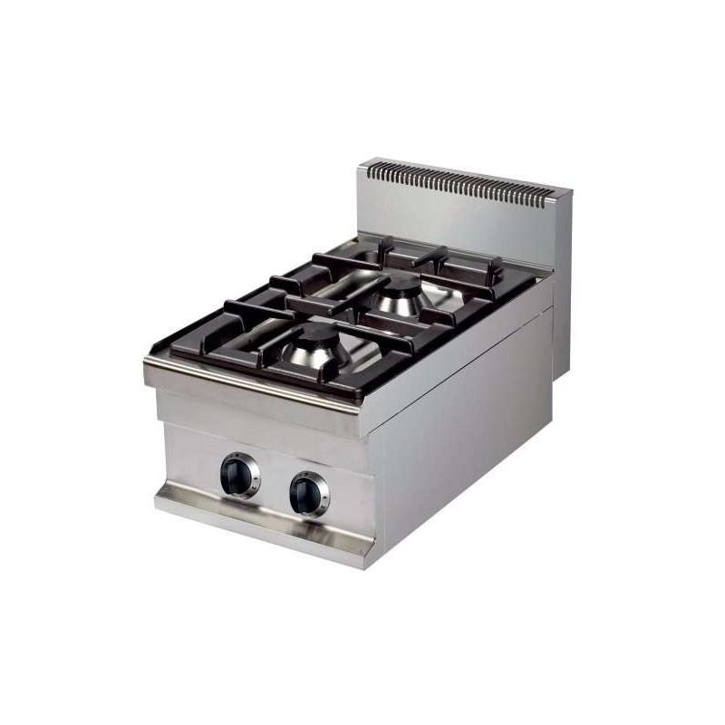 Cocina a gas sobremesa 2 fuegos 6+6kw 400x700x290h mm GR711S Línea Estambul