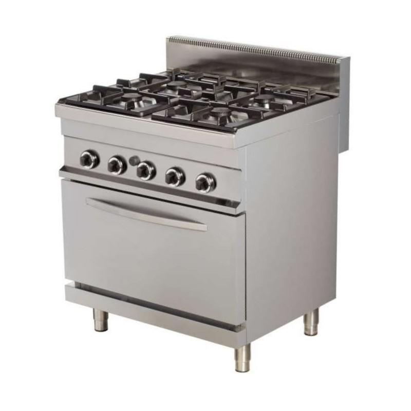 Cocina a gas 4 fuegos 4x6kw con horno GN1/1 a gas de 6kw 800x700x900h mm GR722 Línea Estambul