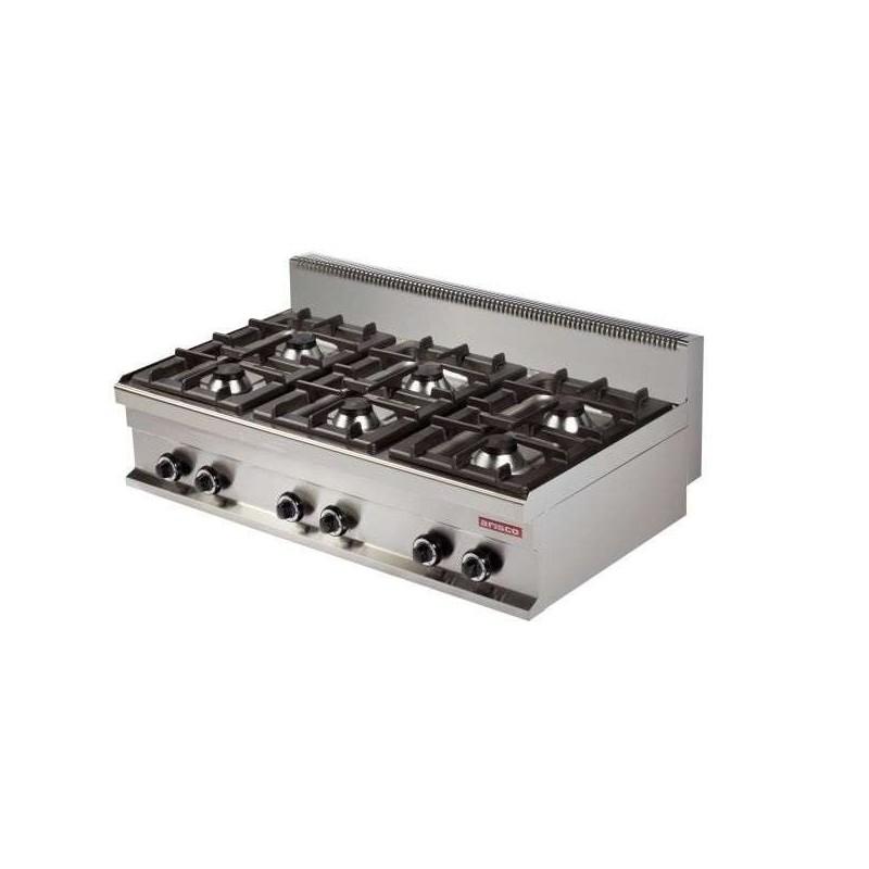 Cocina a gas sobremesa 6 fuegos 6x6kw 1200x700x290h mm GR731S Línea Estambul
