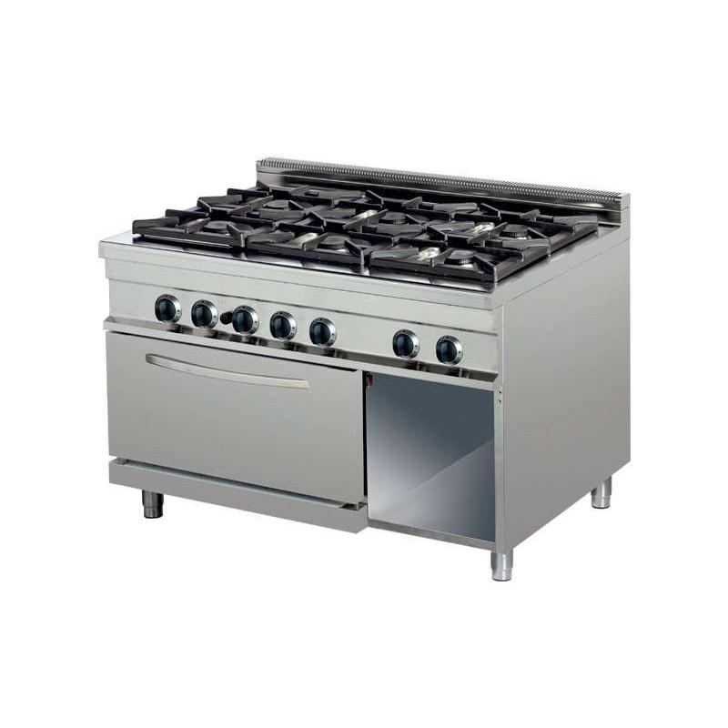 Cocina a gas 6 fuegos 6x6kw con horno de 6Kw1200x700x290h mm GR732 Línea Estambul