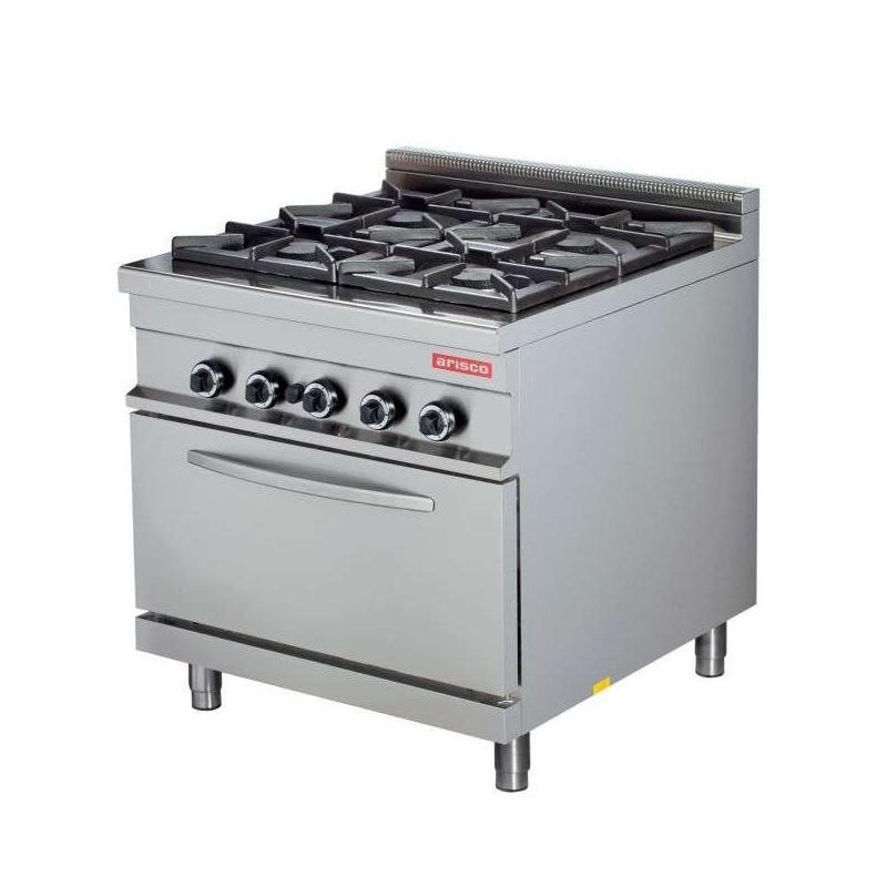 Cocina a gas 4 fuegos 4x8kw con horno 7,5kw 850x900x900h mm GR922 Línea Estambul