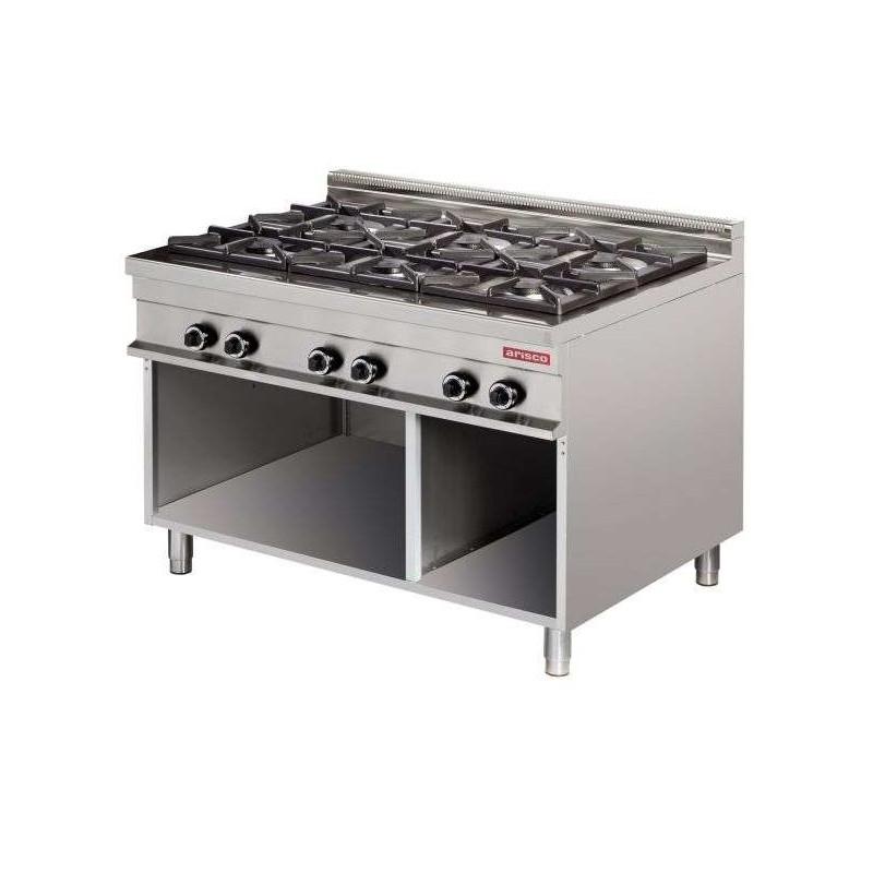 Cocina a gas 6 fuegos 6x8kw 1275x900x900h mm GR931 Línea Estambul
