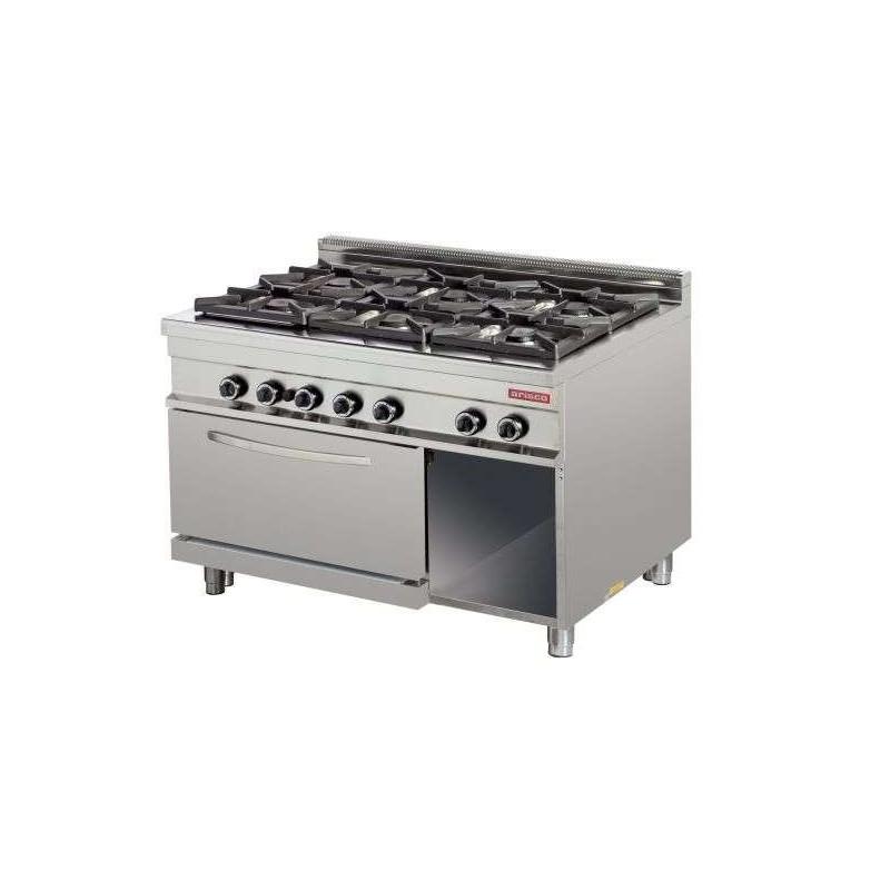 Cocina a gas 6 fuegos 6x8kw con horno 7,5kw 1275x900x900h mm GR932 Línea Estambul