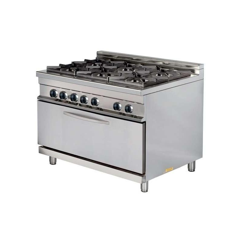 Cocina a gas 6 fuegos 6x8kw con horno MAXI 7,5kw 1275x900x900h mm GR932 MAXI Línea Estambul