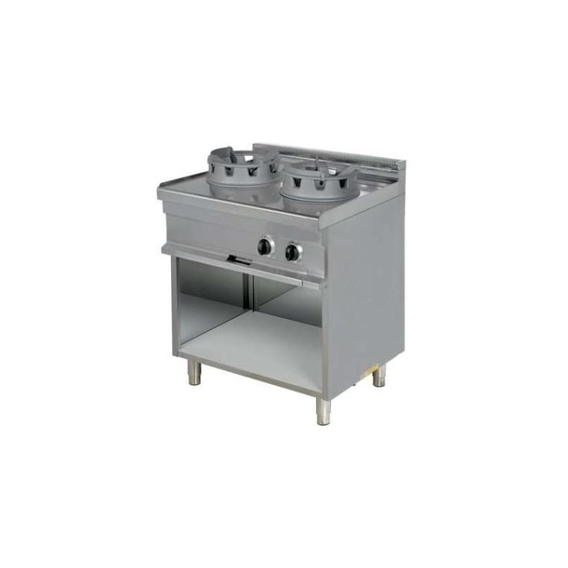 Cocina Wok a gas 2 fuegos 16 kw 850x900x900h mm WR921 Línea Estambul
