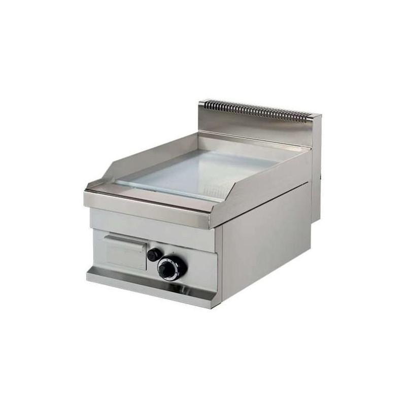 Fry tops a gas sobremesa liso acero 15 mm con baño cromo duro 6kw 400x700x290h mm GG711SC Línea Estambul