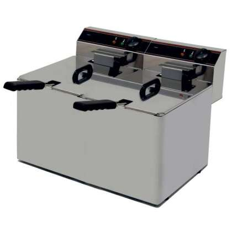 Freidora Eléctrica capacidad 10+10l pot.3,5+3,5 Kw sin Grifo de Vaciado línea Badajoz EVO1010