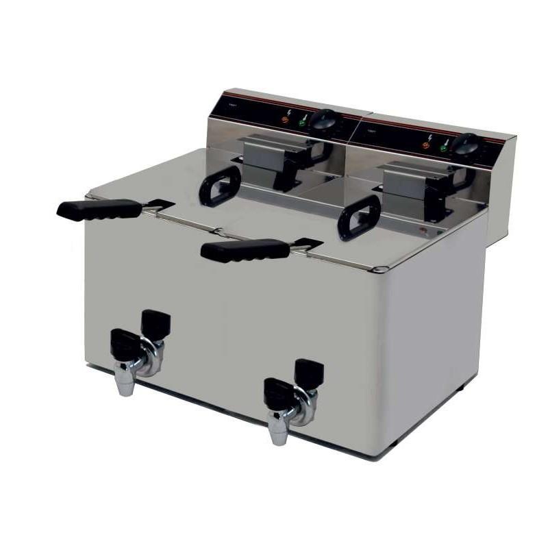 Freidora Eléctrica capacidad 10+10l pot.3,5+3,5 Kw con Grifo de Vaciado línea Badajoz EVO1010G